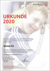 Certificate for the Swiss Special Olympics